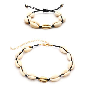 Handmade Summer Beach Shell Bracciale Conch Black Velvet Collana di corda Set Bohemian Necklace and Bangle Jewelry Set Female