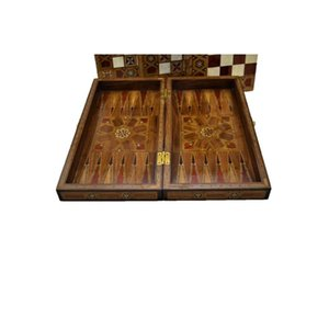 Vintage Game Set Handmade Motif Natural Solid Wooden Backgammon, Chess Board, checkers Sets for Adults Medium Size Mosaic Style
