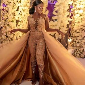 Trajes de las bragas de encaje apliques africana vestidos de noche de lujo del partido de las mujeres 2020 Classic mono de manga larga vestidos de baile desmontable Con Tren