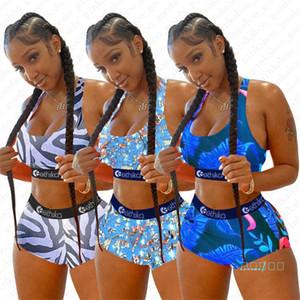 Nuevo diseñador de la llegada Traje de baño Hoja de dibujos animados Rayas de prensa Traje de baño Push Up Sujetador Tanque Shorts Swim Shorts 2pcs Mujeres Bikini Set Beach D5610