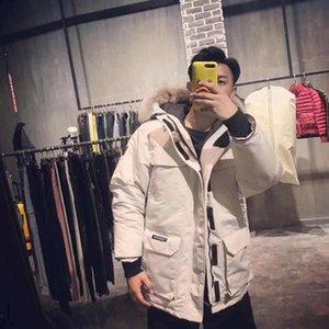 Fashion-Version Down Jacket Wolf-Pelz-Kragen Außen Big G00se Daunenjacke Männer und Frauen-Qualitäts-Jacke HFBYYRF008