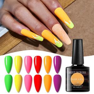 MEET ACROSS 8ml Fluorescent Color Nail Gel Polish Colorful Long Lasting Nail Art Gel Manicure Soak Off Neon Color Varnish