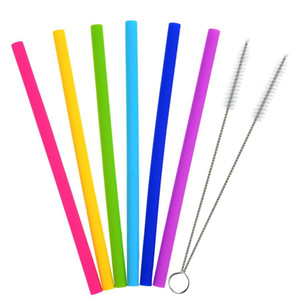 Silicone Drinking Straws 25cm Reusable Flexible Straws with Cleaning Brushes Bar Party Straws Sets 8pcs set OOA8030