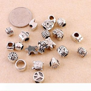 Loose Beads Mixed Design Antique Silver Acrylic Beads Spacers Beads Fit Pandora Bracelet European Charm bracelets chain bracelet Accessories