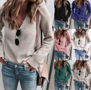 Mode féminine Knits 2020 Spring New Arrival Femmes Sexy col V Pull à manches longues Femmes Casual solide Couleur Pull en gros Qualité