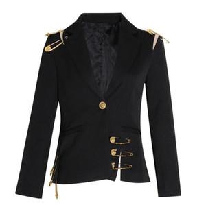 Kadınlar Siyah Örgü Pin Bölünmüş Mizaç Blazer İlkbahar Sonbahar Yaka Uzun Kollu Fit Ceket Moda Ince Suits Ceket W501