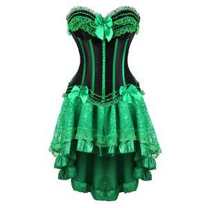 abiti corsetto di pizzo burlesque plus size lingerie zip bustier corsetto gonne per le donne partito gotico lolita verde sexy korsett 6XL