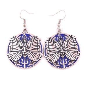 HY159 Mode rétro style animal talisman blaze charme boucle d'oreille flamme papillon lune motif viking pendentif boucle d'oreille pour les femmes