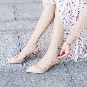 2020 Обувь женщина Босоножки Thin High Heels Остроконечные Toe Pumps Управление леди Карьера Поддельный замши Элегантный Sexy Твердотопливные сандалии