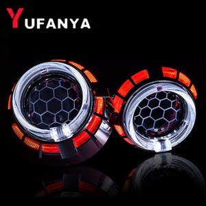 led Bixenon Projector Lens With Dual Angel Eyes White Blue Red Color Eyes retrofit universal car use h1 xenon bulb headlight