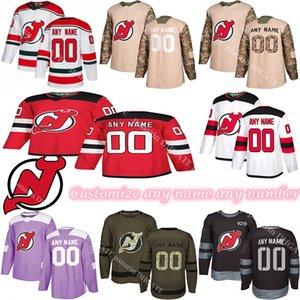 사용자 정의 2020 뉴스 뉴저지 데블스 하키 유니폼 여러 스타일 남성 사용자 정의 숫자 하키 유니폼 모든 이름
