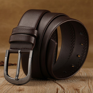 2019man leather smooth button business casual top layer pure cowhide belt of the han edition youth handmadefree shipping