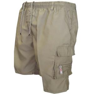 Novos Homens Verão Elasticado Simples Bolsos Macacos Zipper Shorts Estilo Safari Algodão Leve Carga Combate Calções Curtas