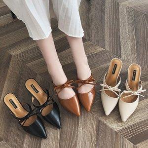 2020 Primavera estilo europeu e americano apontou metade chinelos Baotou doce arco Harajuku sandálias e chinelos femininos de salto alto de altura