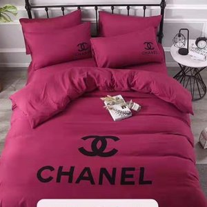 INS Branded Cotton 4pcs Bedding Sets Machine Washing Letter Floral Printed BedClothes Pillow Sheet Woven Adult Soft Home Textile