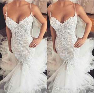 2019 Elegant Spaghetti Straps Lace Mermaid Wedding Dresses Tulle Lace Appliques Backless Wedding Gowns Plus Size Vestidos BC079