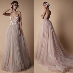 Dusty Pink 2019 Sexy Open Back Evening Prom Dresses A Line Spaghetti Strap Tulle Long Party Prom Gowns Cheap WY1070