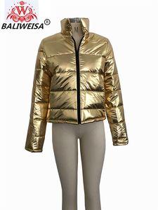 BALIWEISA Plus tamaño PU cuero abajo abrigos cortos mujeres Stand Collar manga larga cremallera acolchado chaquetas gruesas cálido invierno Outwear