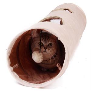 Animale domestico di alta qualità lungo 120 cm 2 fori cucciolo di coniglio rompicapo divertente nascondere giocattoli con palla pieghevole cat tunnel q190523