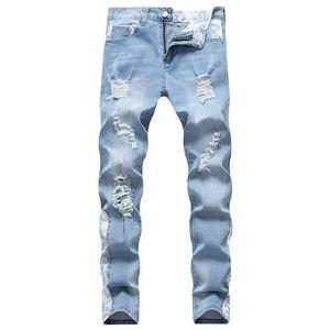 Жан Мужчины Женщины скейтборд рваные дизайнер байкер джинсы брюки 19SS осень тонкий