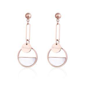 Pendientes de oro rosa de las mujeres Pendiente de acero de titanio forman a medio redonda de la joyería del regalo de boda del perno prisionero del estilo largo de los pendientes pendientes