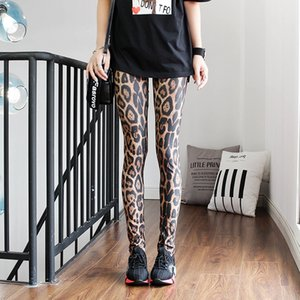 Gyudi 2020 leopard print color pattern personality all-match fashion women's sexy leggings ankle-length Tight pants Trousers and trousers pa