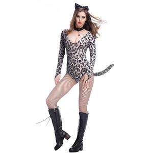 3 Pcs Women Sexy Hot Halloween Performace Leopard Cheetah Panty hose Dress Teddies Jumpsuits Lingerie Bodysuit Cosplay Set Costumes pt0