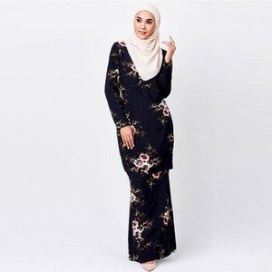 Musulmanas 2pcs vestido impreso floral del verano más Trajes ocasional de las mujeres gasa de la ropa