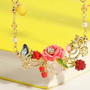 2018 Amybaby Designer Handmade Enamel Glaze 핑크 플라워 로즈 버드 목걸이 Stud 귀걸이 쥬얼리