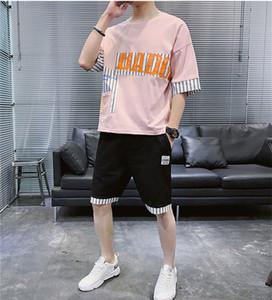 Designer Carta adolescentes Streetwear 2PCS Fatos Verão Impressão listrado com painéis Suits Mens Sports solto Define Fsahion roupa ocasional