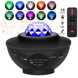 Lampe LED Galaxy Starry Night Star Night Light Projector Ocean Wave Projecteur avec musique Bluetooth Télécommande Enfants cadeau
