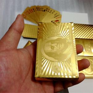 Покер карты Gold Foil доллар Игральные карты Водонепроницаемые Позолоченные Euro Poker настольные игры для подарков Коллекции Бесплатная доставка