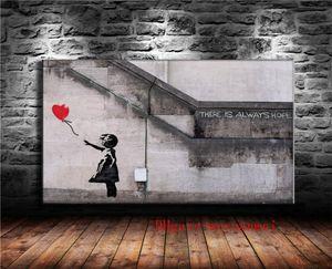 بانكسي فتاة مع الأحمر بالون، قماش قطعة ديكور المنزل HD مطبوعة الفن الحديث الرسم على قماش (غير المؤطرة / مؤطر)