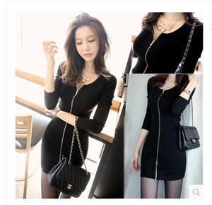 Plus size spring and autumn new nightclub tight fitting front H-shaped hip fashion sexy black dress