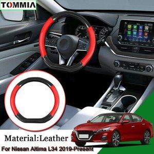 Nissan Altima L34 için Araç Şekillendirme Karbon Elyaf Deri Araç Direksiyon Kapak