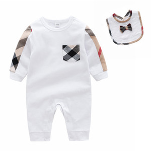 Sommer-Herbst-Baby-Kleidung Neugeborene Kostüme Baby Body Set Baumwolle Overall + Lätzchen 2 PCS Suit Kleinkind-Baby-Overall
