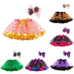 Fantasia mini-saia menina Halloween saia da abóbora da lanterna Imprimir Costume Lantejoula Bow Saias Partido Pettiskirt férias Tutu Crianças