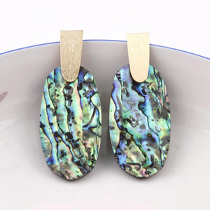 Kendra Tarzı Tasarımcı Ilham Oval Turkuaz Abalone Kabuk Leopar Akrilik Reçine Aragon Dangle Bırak Büyük Bildirimi Küpe