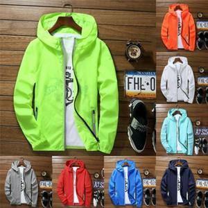 6 Farben Neu Men Wasserdicht Wind Breaker Mantel Reißverschluss-Jacke, schnelltrocknende Sport Outwear beiläufige Art und Weise