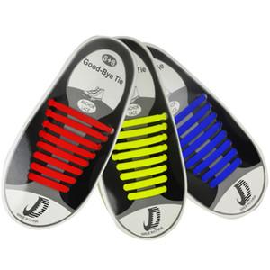 16pcs / Seti Elastik Silikon Shoelaces Yok Tie Tembel Running Sneakers Strings Kauçuk Ayakkabı Bağcıklar Ücretsiz Kargo