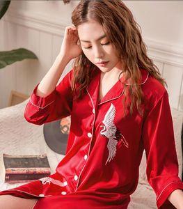 Леди 2019 шелковый кардиган платье весна / лето повседневная мода рубашка воротник с лацканами домашней одежды женский топы