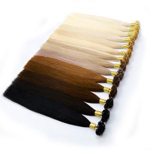 U punta Pre legame di estensione dei capelli della cheratina di fusione estensione dei capelli umani disegnata doppio diritto di seta brasiliano Remy capelli Nano Anello 100 fili