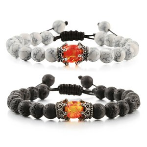 Trendy Men Bracelet Couple King Crown Natural Yin Yang Stone Beads Braid Bracelets Women Bangles Rope Handmade Jewelry Best Gift