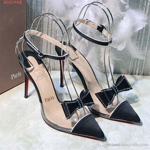 High Heels Frauen Low Busen Sandalen, Mid Crystal Transparent Red Bottom Pumps für Fashion Lady in Party Hochzeit