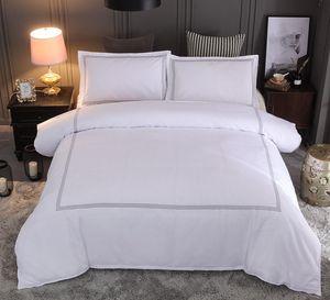 Bonenjoy Hôtel Literie Reine King Size Blanc Brodé Couleur Housse de couette Sets Hôtel Linge de lit Taies Taie