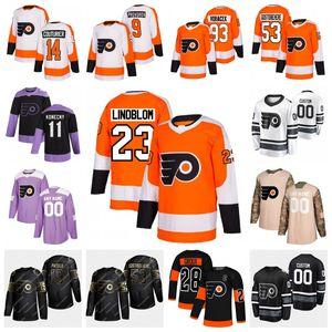 Jeunes Flyers de Philadelphie Oskar Lindblom Carter Hart Claude Giroux Sean Couturier Shayne Gostisbehere Nolan Patrick Jakub Voracek Jersey