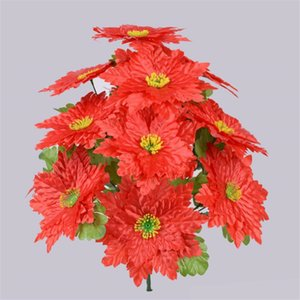 "7Pcs Fake Flower (14 heads bunch) 18.9"" Length Simulation Poinsettia for Wedding Home Decorative Artificial Flowers"