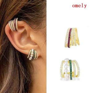 joyería de lujo superior nuevos aretes con diamantes anillo hueco de múltiples clip de mujeres de la perla del oído