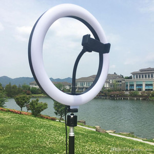 Lámpara LED de intensidad regulable estudio de la cámara anillo de luz de vídeo del teléfono selfie luz con el trípode soporte para teléfono Tabla luz de relleno para el estudio de maquillaje USB Vivo