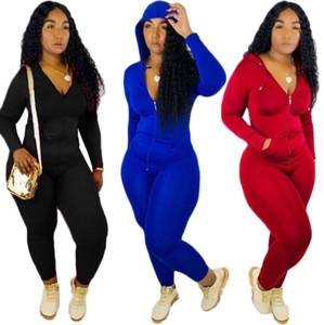progettista delle donne 2 pezzi set tuta manica lunga pantaloni rivestimento della chiusura lampo della tuta con cappuccio legging abiti bodycon sportsuit S-XXL 900